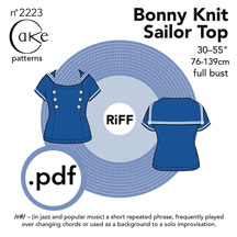 digital bonny knit sailor top sewing pattern