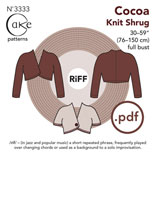 digital cocoa knit shrug sewing pattern