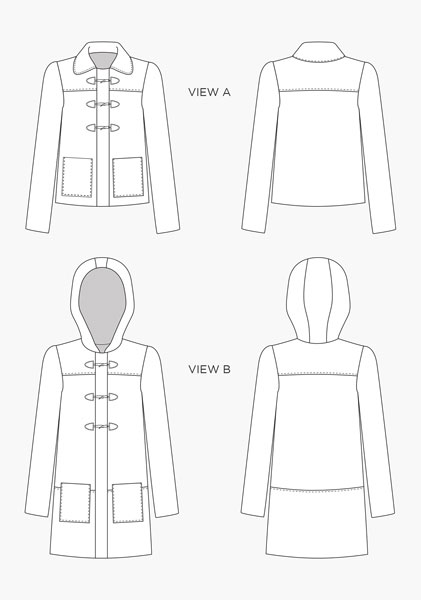 Digital Cascade Duffle Coat Sewing Pattern | Shop | Oliver + S