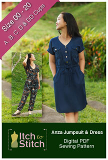 digital anza jumpsuit + dress sewing pattern