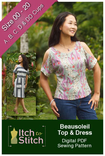 digital beausoleil top + dress sewing pattern