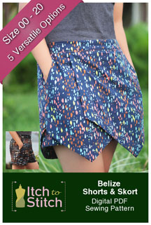 digital belize shorts + skort sewing pattern