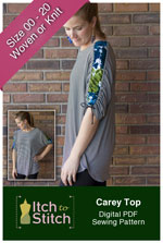 digital carey top sewing pattern