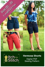 digital hermosa shorts sewing pattern