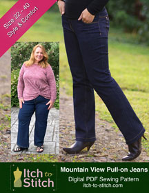 digital mountain view pull-on jeans sewing pattern