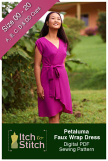 digital petaluma faux wrap dress sewing pattern