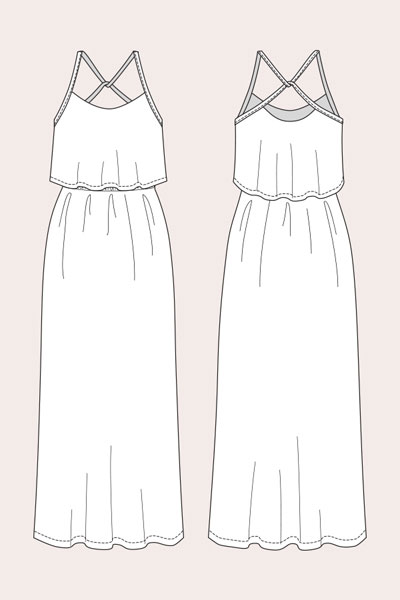Digital Delphi Layered Maxi Dress Sewing Pattern | Shop | Oliver   S