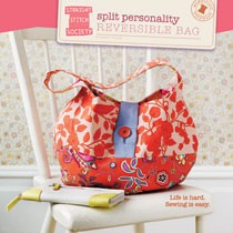 digital split personality reversible bag sewing pattern