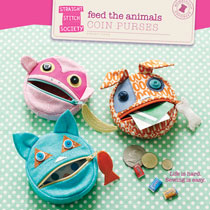 digital feed the animals coin purses sewing pattern