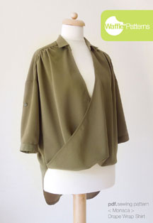 digital monaca drape wrap shirt sewing pattern