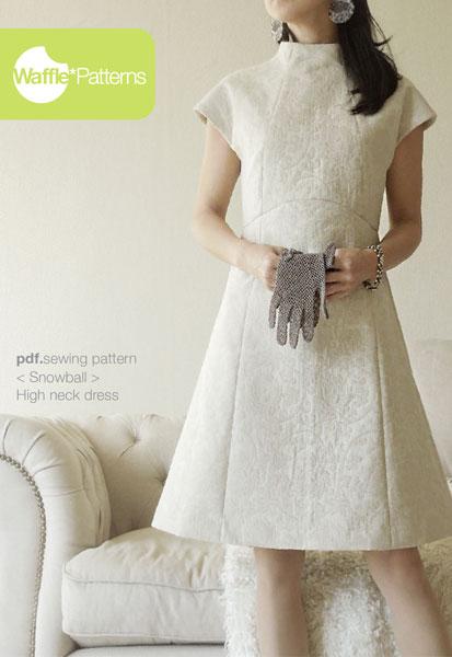 Digital Snowball High Neck Dress Sewing Pattern