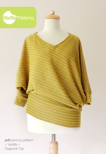 digital vanilla diagonal knit top sewing pattern