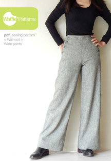digital walnoot wide pants sewing pattern