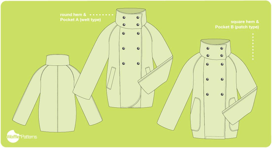 digital yuzu raglan coat sewing pattern